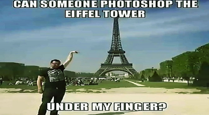 Can Someone Photoshop the Eiffel Tower Under My Finger?